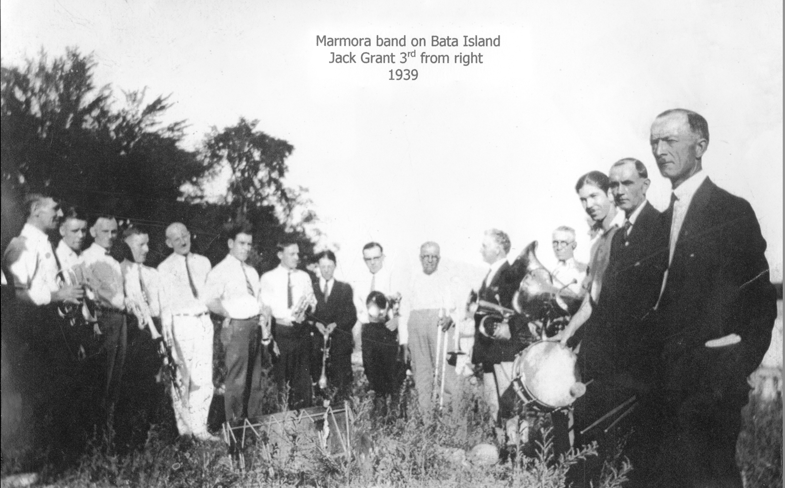 Crowe Lake,  Marmora band on Bata Island 1939,  Jack Grant 3rd from Right.jpg