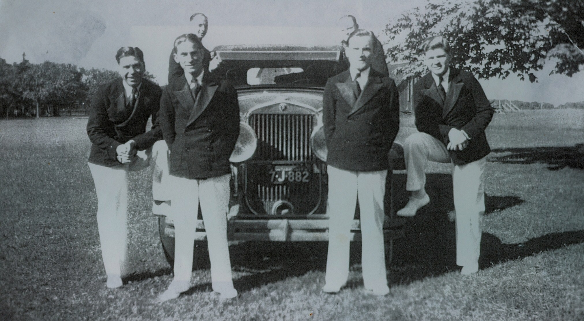 Aces Orchestra1932 in Jack Denmark's 1926 Cadaillac,  at Tipperary Hotel  Fred Doris, Jack Denmark,  back row - Jack Grant, Jack McCaul,  Mike Hayward and Reg Spalding