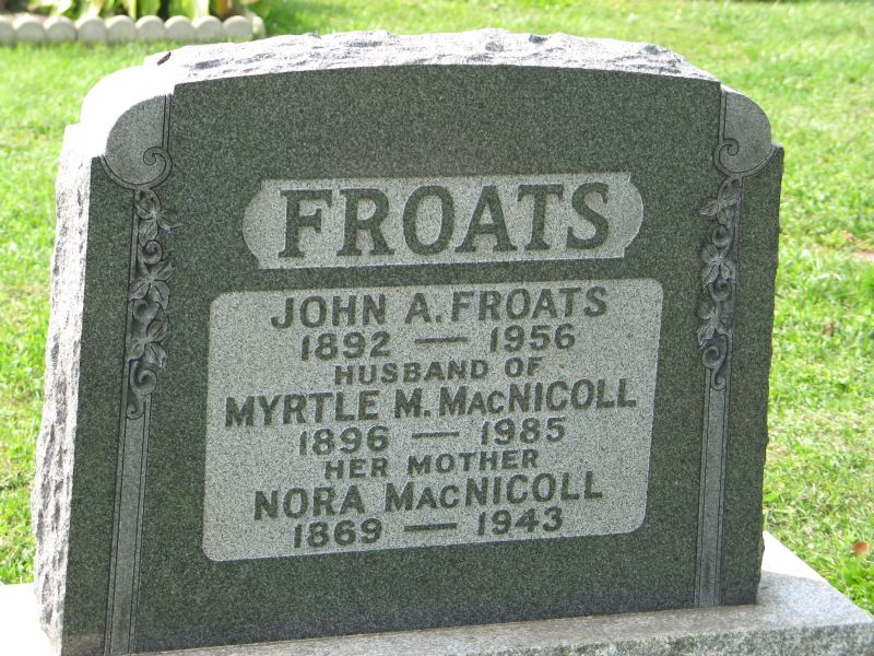 John Albert Froats in buried in a Niagara Falls cemetery