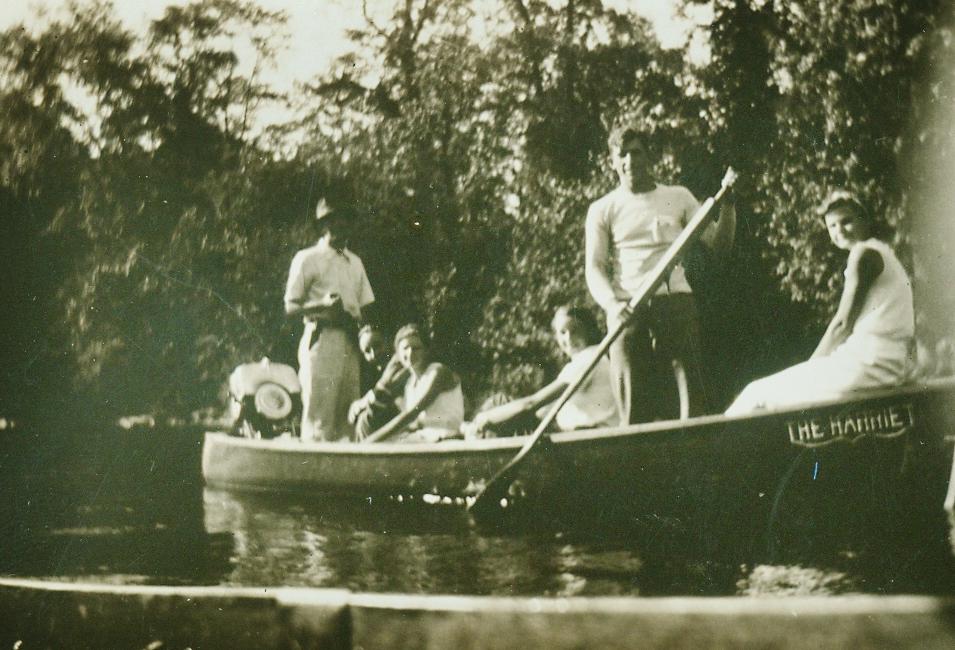 1934 Boating Roger Peckinpaugh, Ford Woodhouse, Jean Gladney, Dorrie Marett, Walt Peckinpaugh, Lib Gladney