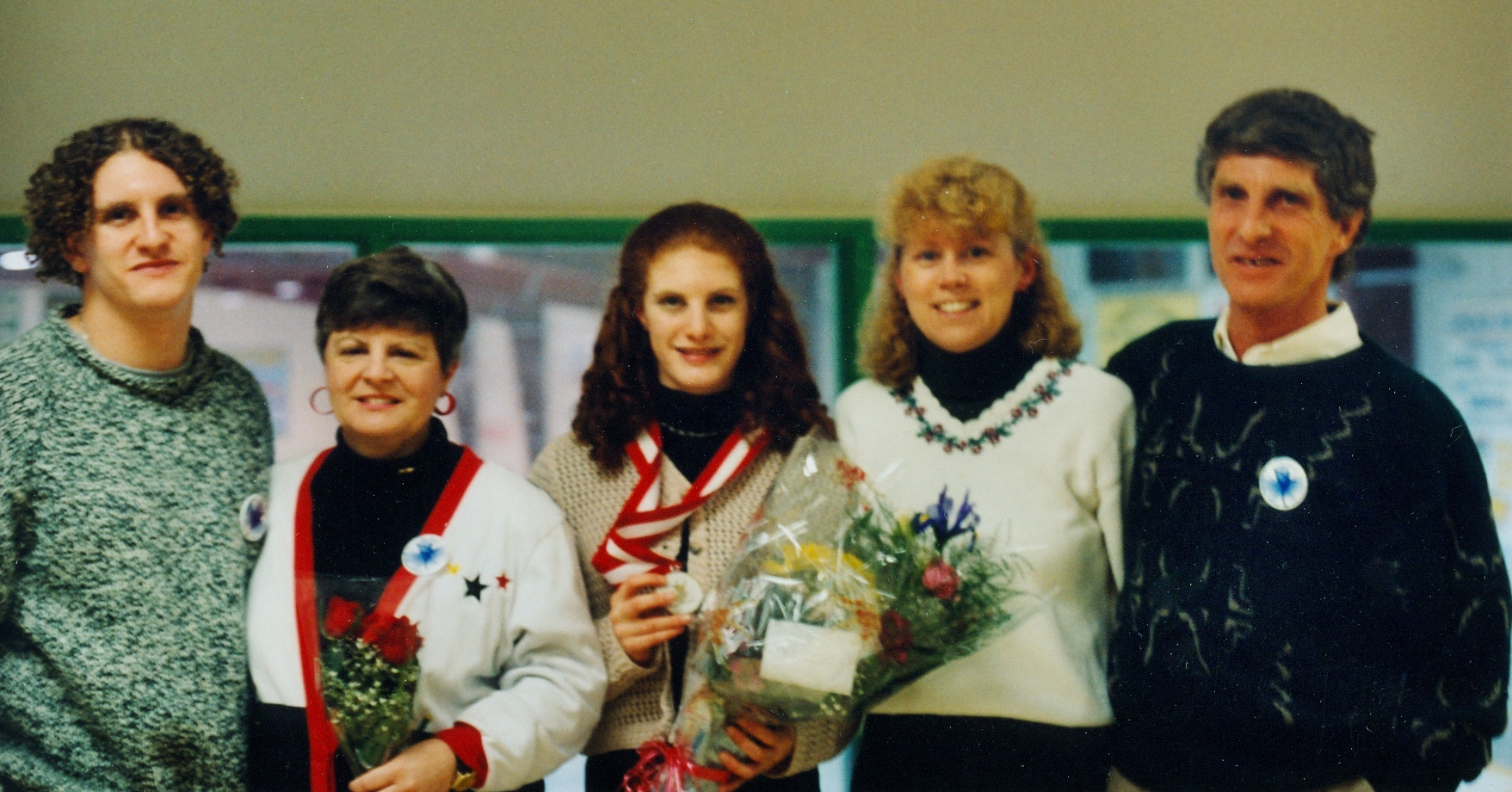 Stefanie Partridge, a 1997 Canadian Silver Medalist with brother Jason, Mother Cathy, Coach Nancy Cunnyworth and father Cliff.