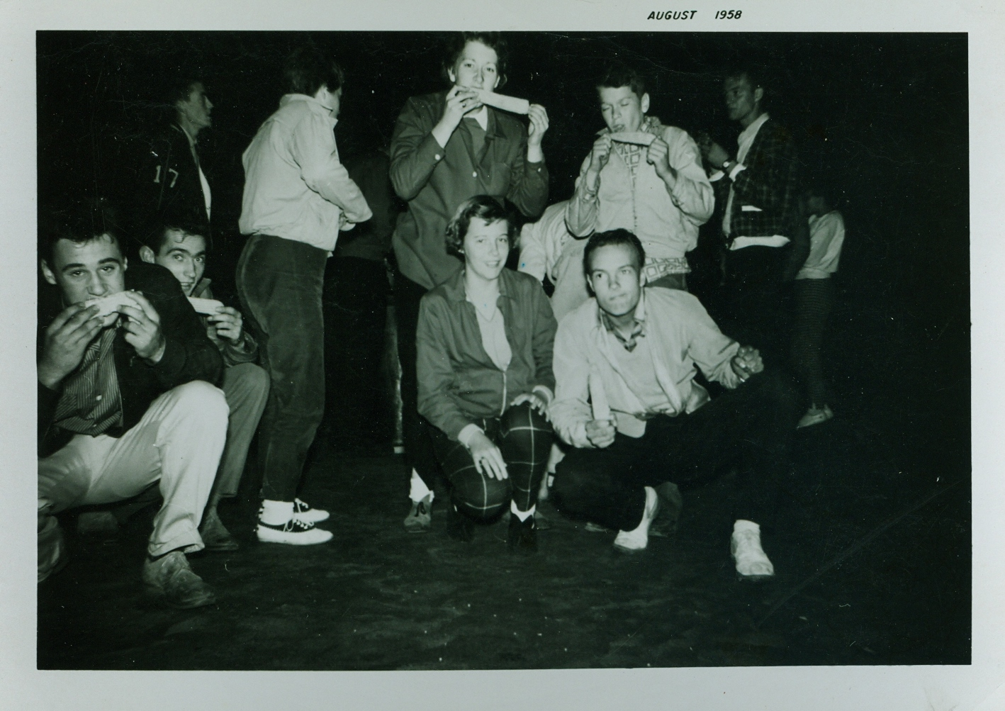 1958 Crowe Lake, Corn Roast, Bob Jenkins, Leo Darrah, Bev Samuels, Chrlotte Austin, Gary Nobes, Brian MacKenzie