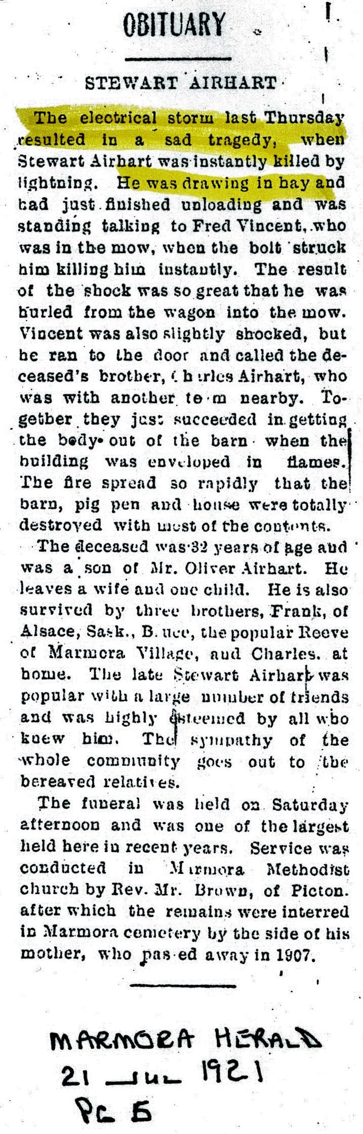 Airhart, Stewart, farmer, 1889-1921, Bad luck,  lightening strike XXX.jpg