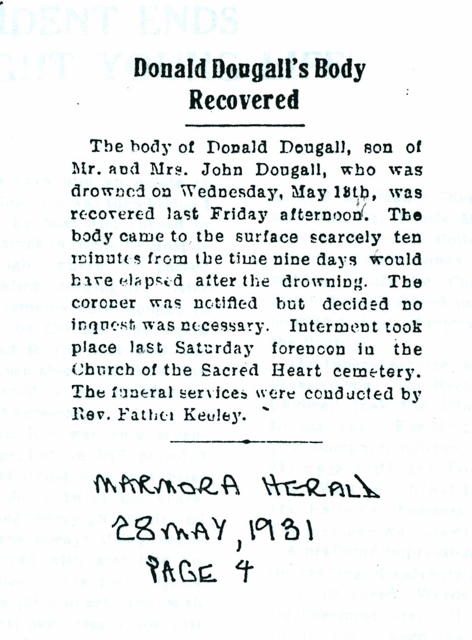 Dougall, Donald, drowning 1931.jpg