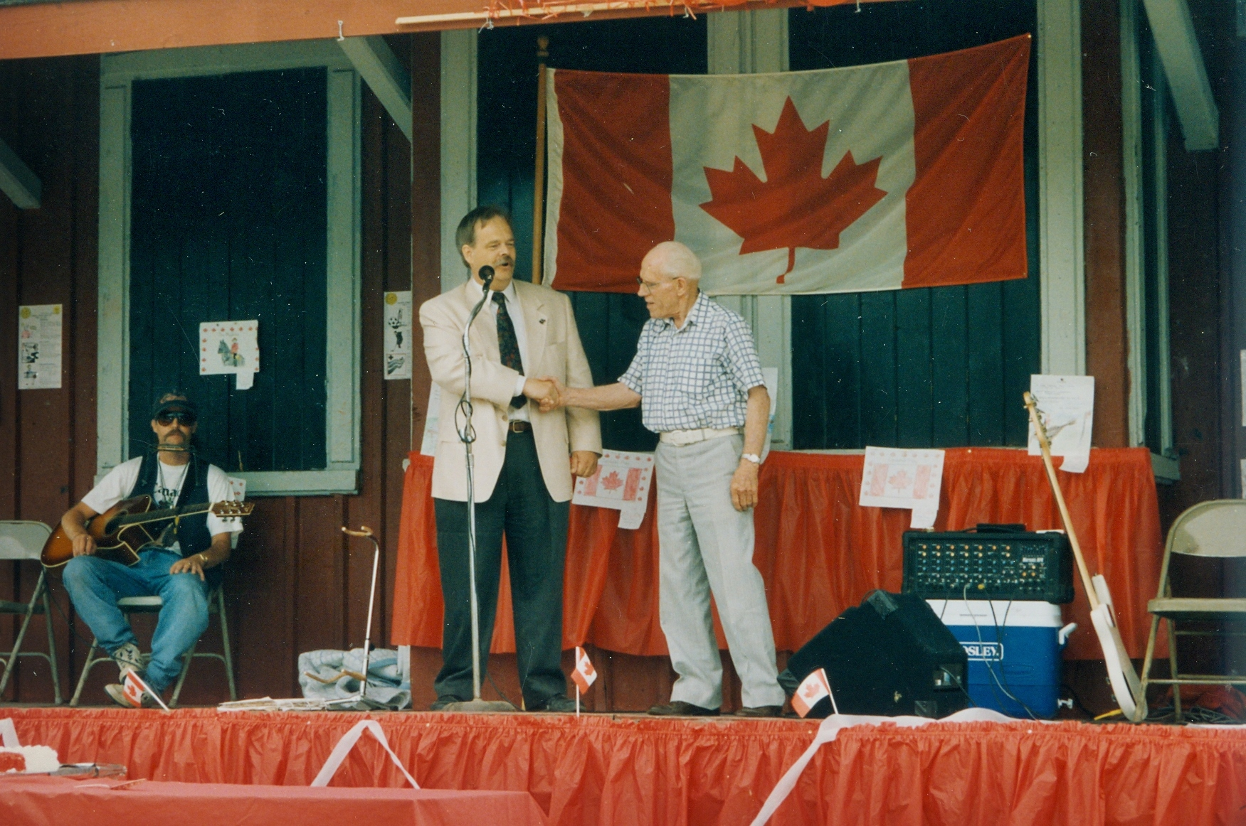 Above: 1995 Canada Day Celebrations with Reeve Andre Philpot and Stewart Hardy