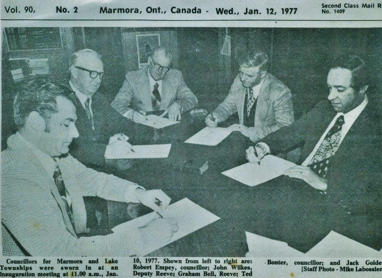 Township Council 1977  Robert Empey, John Wilkes, Graham Bell,  Ted Bonter, Jack Golden.jpg