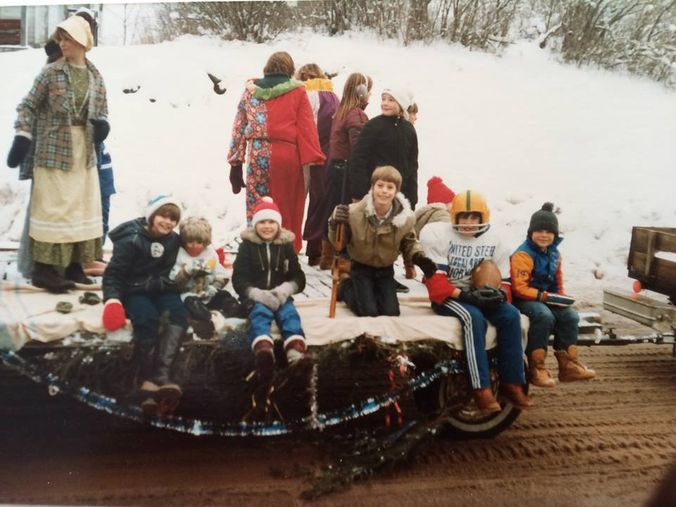 1983 Cordova Mines Santa Claus Parade — with Cathy Van Allen-Kennedy, Kelly Falls and Jeff Van Allen in Cordova Mines, Ontario.