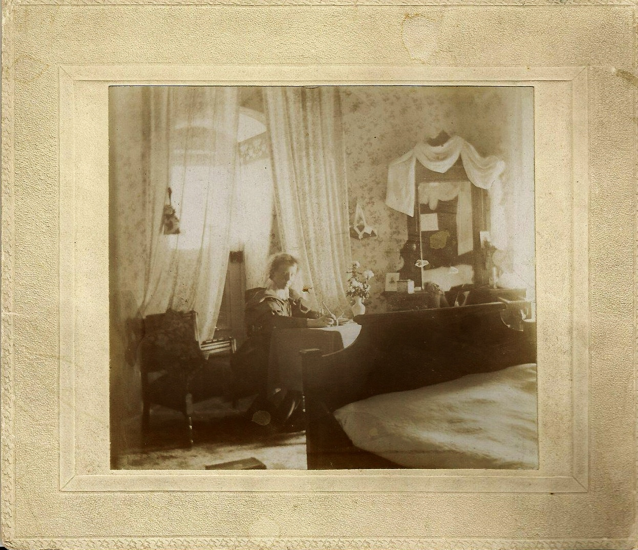 Blanche, daughter of Joseph Burgess  Pearce  in her room at Ousemore House, Norwood