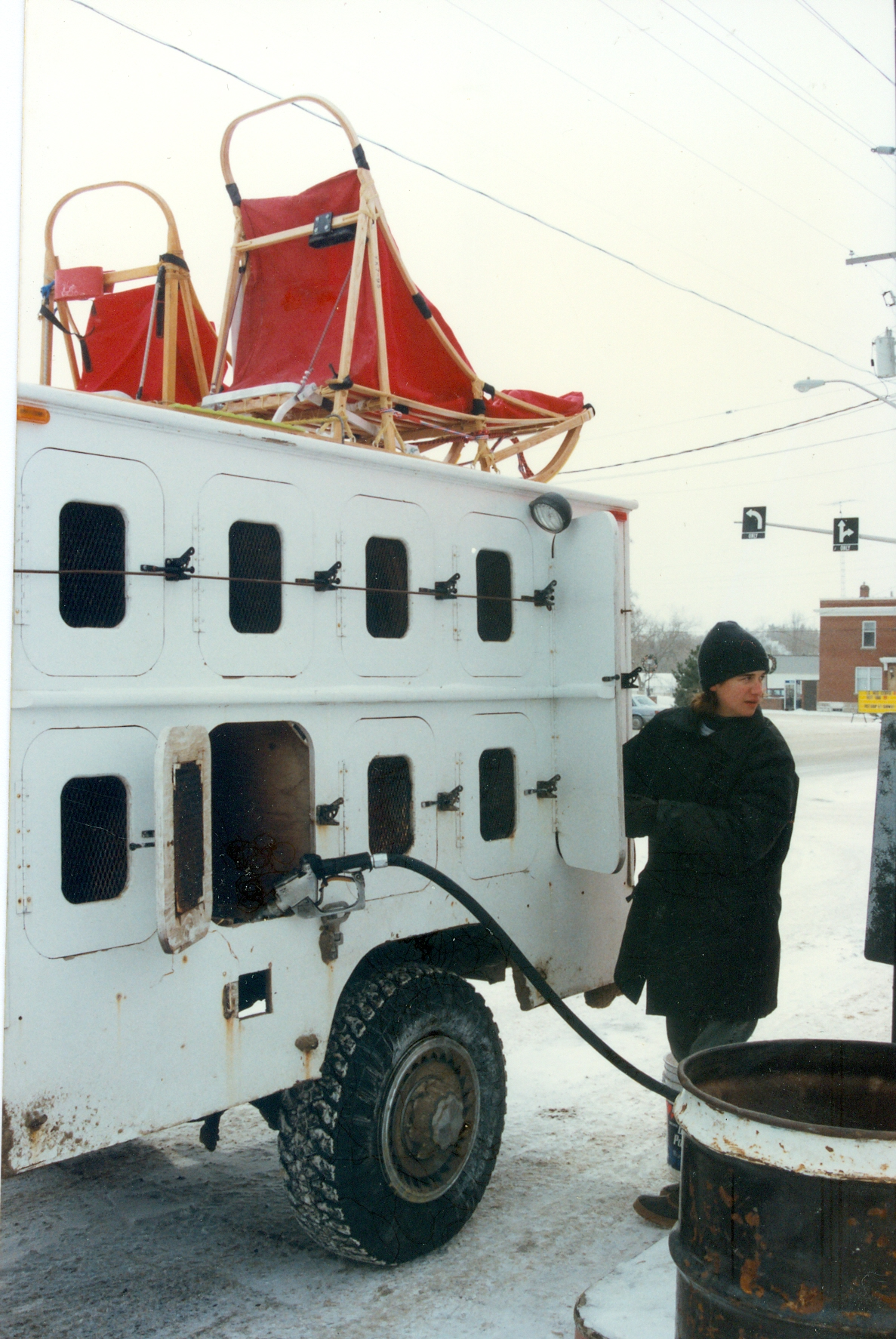 Adrian Philpot pumping gas at Terrion's Esso