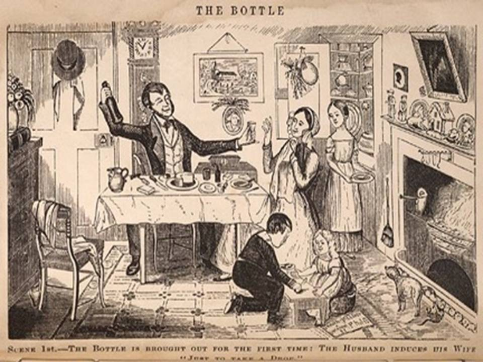 "Scene 1 - The bottle is brought out for the first time.  The husband induces his wife ""just to take a drop"""