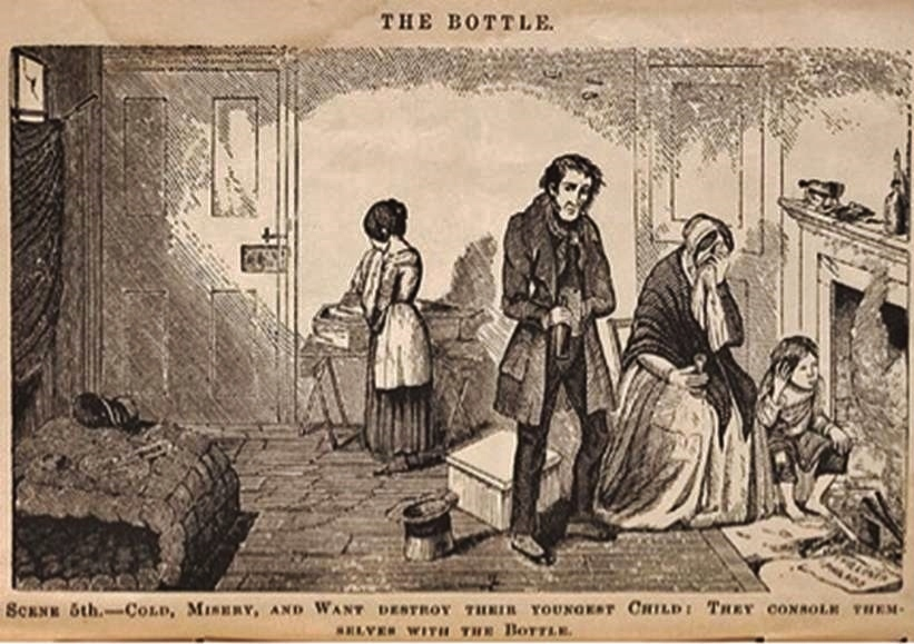 sCENE 5 - cOLD, MISERY AND WANT DESTROY THEIR YOUNGEST CHILD,  tHEY CONSOLE THEMSELVES WITH THE BOTTLE