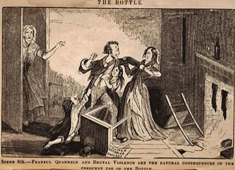 sCENE 6 - FEARFUL QUARRELS AND BRUTAL VIOLENCE ARE THE NATURAL CONSEQUENCES OF THE FREQUENT USE OF THE BOTTLE.