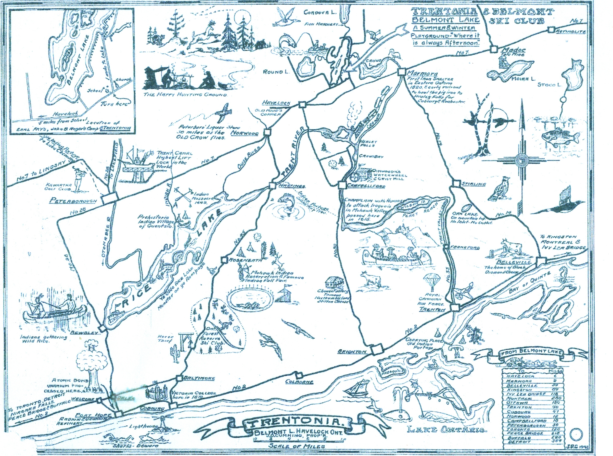 Tourist map designed by Mr. Cumming in 1947