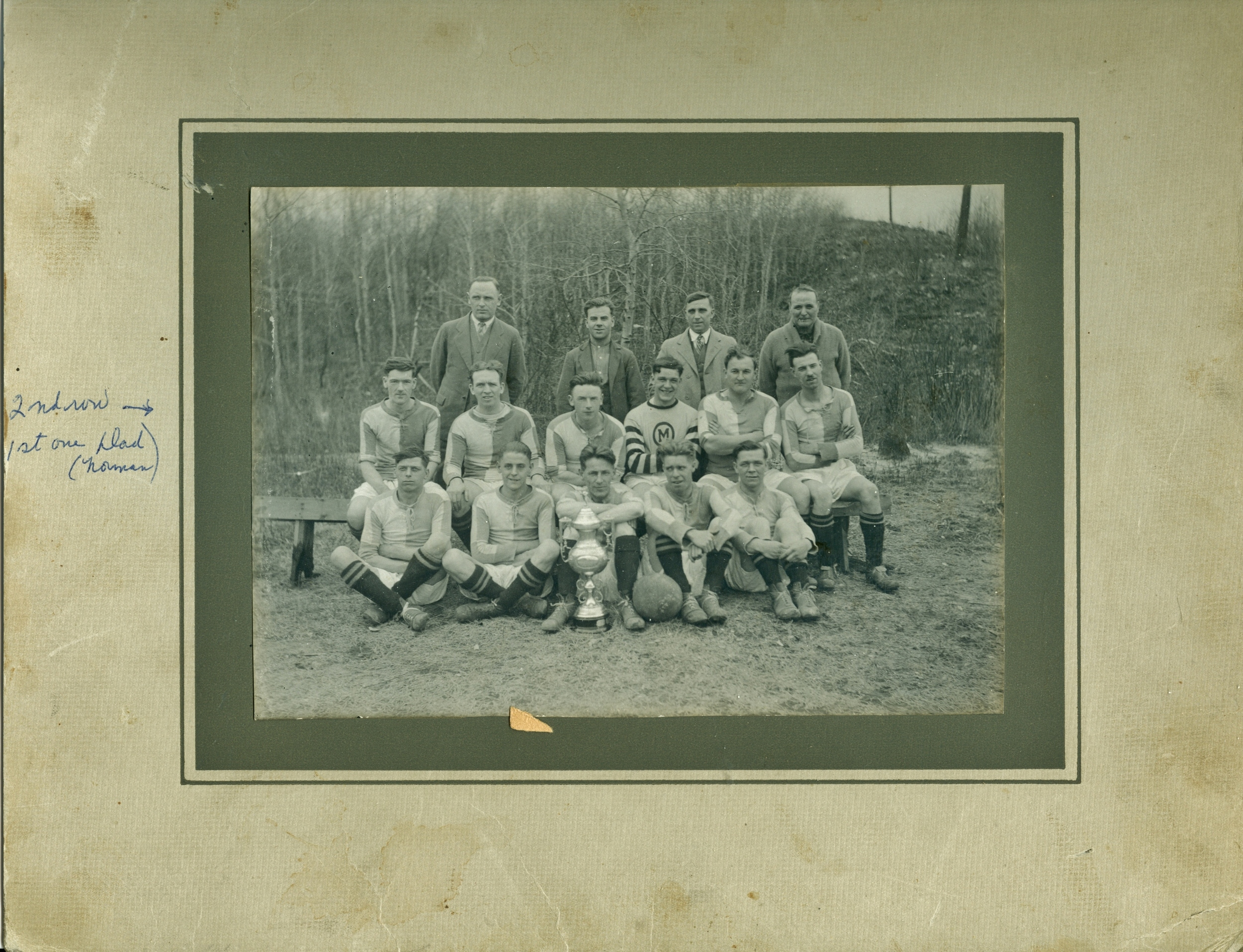 """Deloro Soccor Team  1930 Front row left:      Tommy Cousins,      right end, Bill Brown, next to him, George Brooks. Second row, left, Norman Hipson.  From Brenda Brooks: """"George Brooks, my father, who came to Deloro 1923, and in 1922 he played for the Bognor Rocks in England and won the 1922 Championship in Soccer.""""  Wayne VanVolkenburg writes: Middle row left end is my grandfather Norman Hipson. He came to Marmora in 1928... so the photo is 1928 or later."""