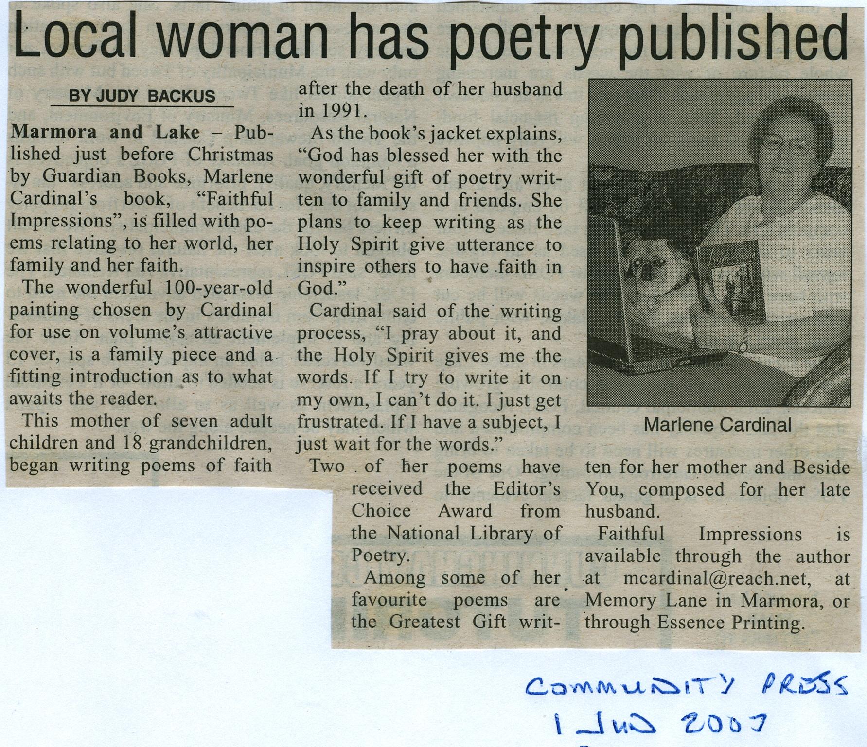 Marlene Cardinal - poet