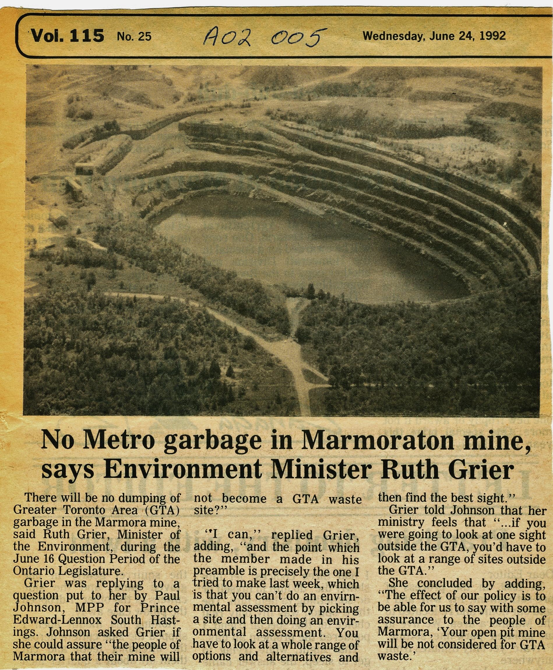 Marmora Takes no Trash — MarmoraHistory ca