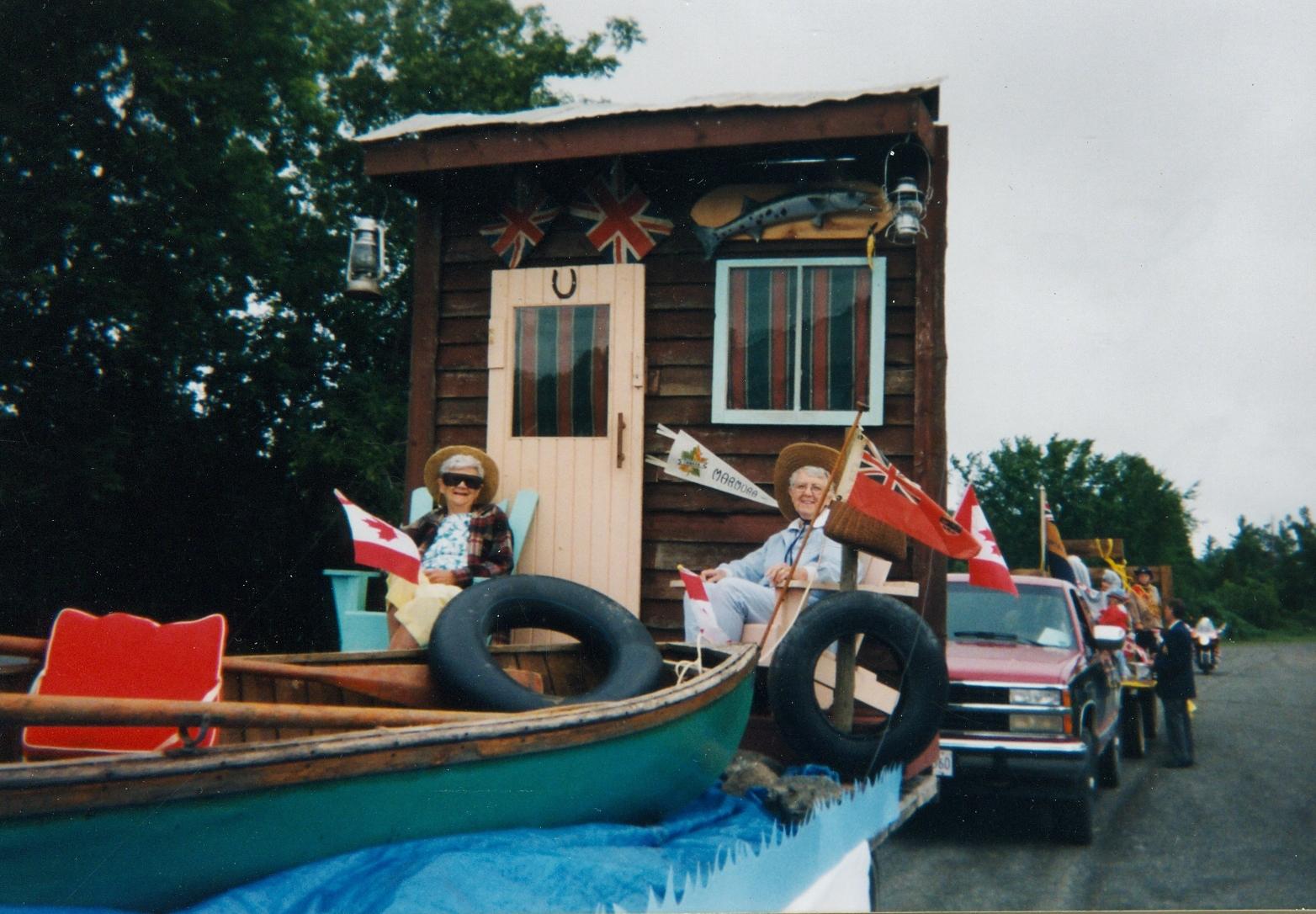 Marmora Historical Foundationin parade, Paul, Celia Murray, Cathie Jones