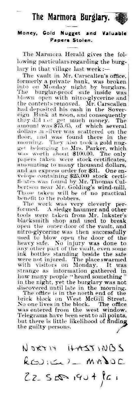 sEPTEMBER, 1904 ROBBERY
