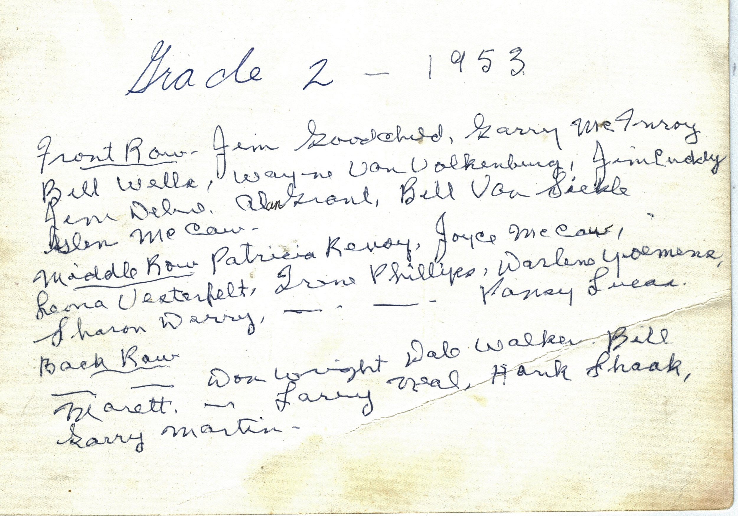 Al  & Jack Grant Collection Grade two list 1953.jpg