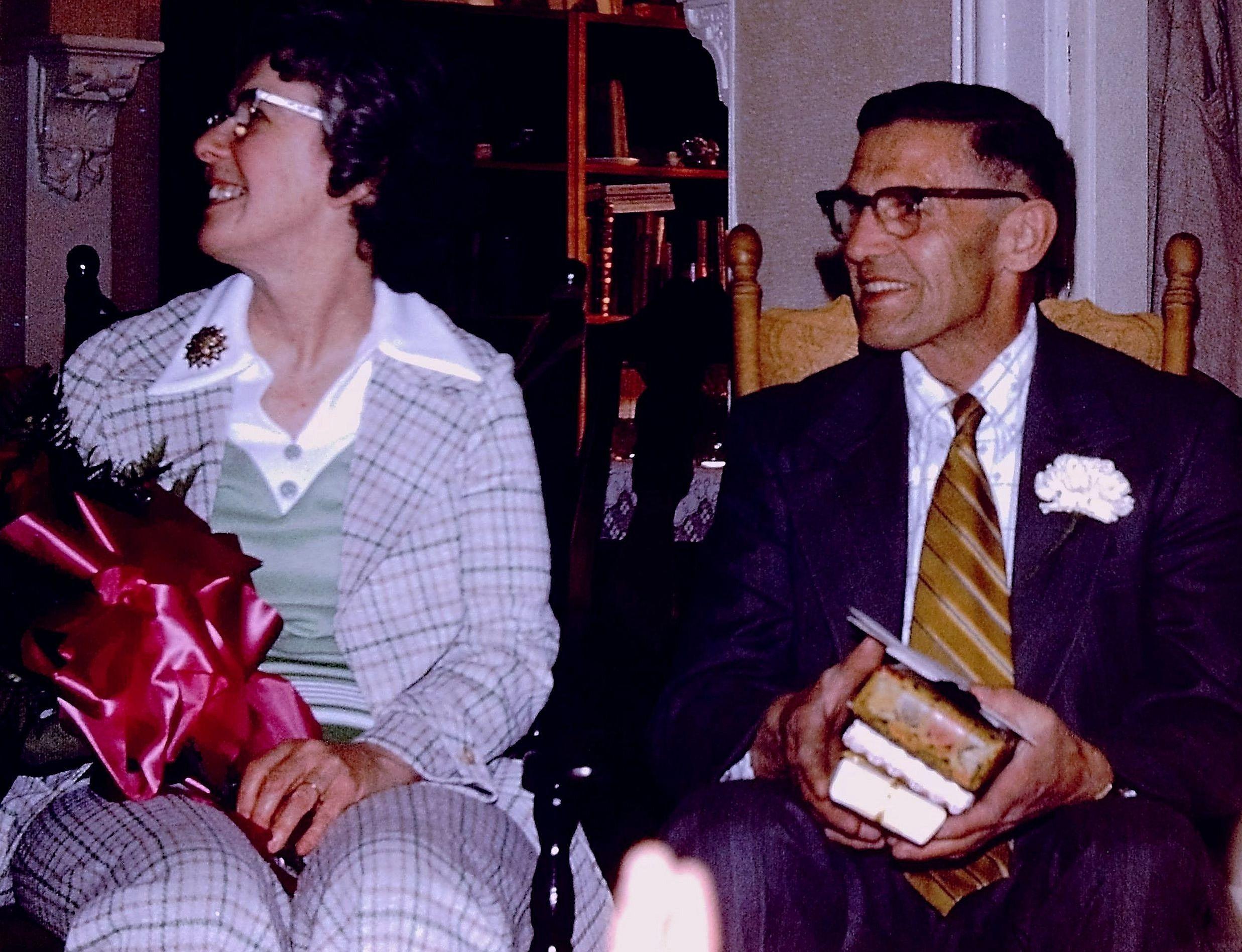 John VanVolkenburg retires. (with Doris) Party at Welch's, 1975