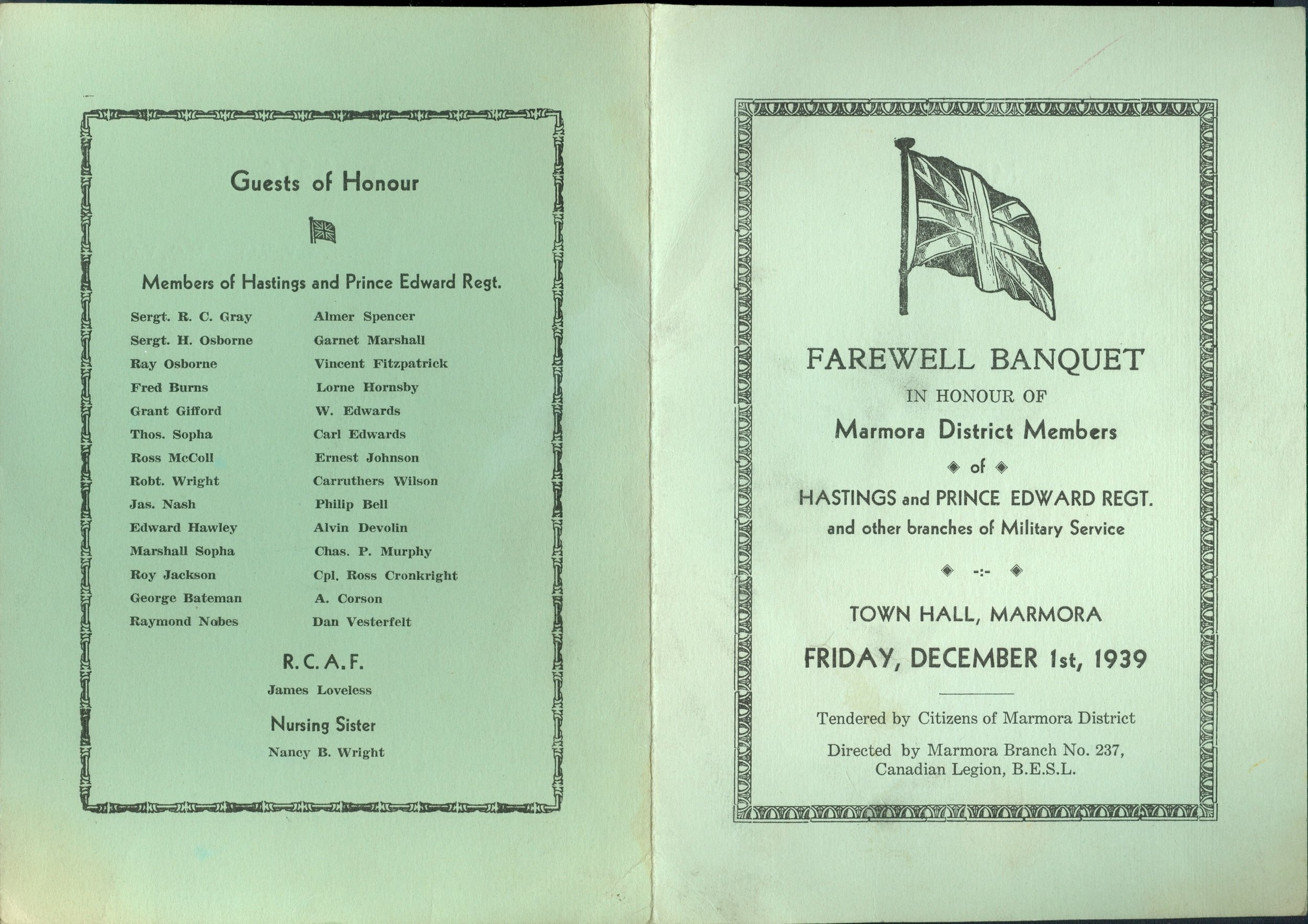 Wartime - Farewell Banquet Program pg 1,  1939, Hastings & Prince edward Regiment, Town Hall, Canadian Legion.jpg