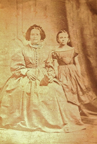 SARAH GLADNEY MEATH AND DAUGHTER, SARAH, ABOUT 1865 TRENTON ONTARIO