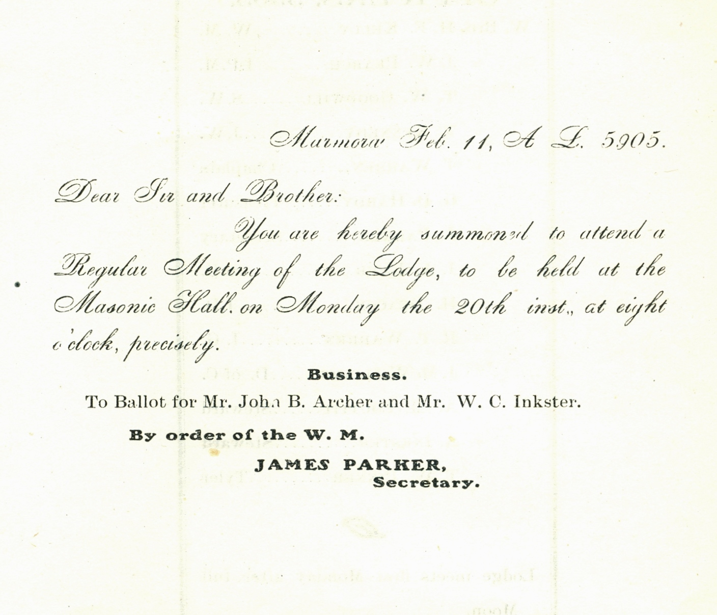 letter dated 5905 or 1905