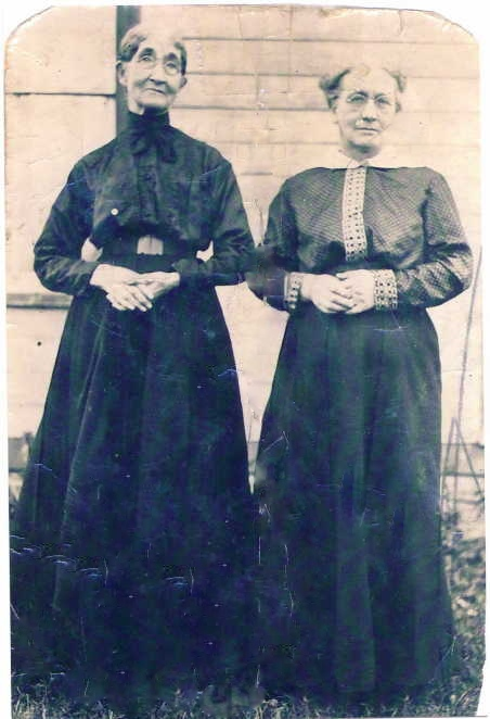 SAMUEL'S MOTHER, MARY GRAY, ON RIGHT, AND HER SISTER, ANNIE GRAY COCKINS ON LEFT