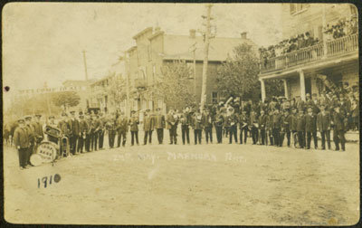 May 24, 1910 IOOF Trenton Band in Marmora (Notice Donnelly's Barber shop in the background. and royal hotel on the right.