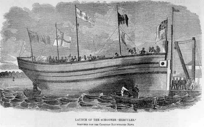 The Launch of the hercules  in Hamilton  1863-1869                                   Photo: Frank Woods