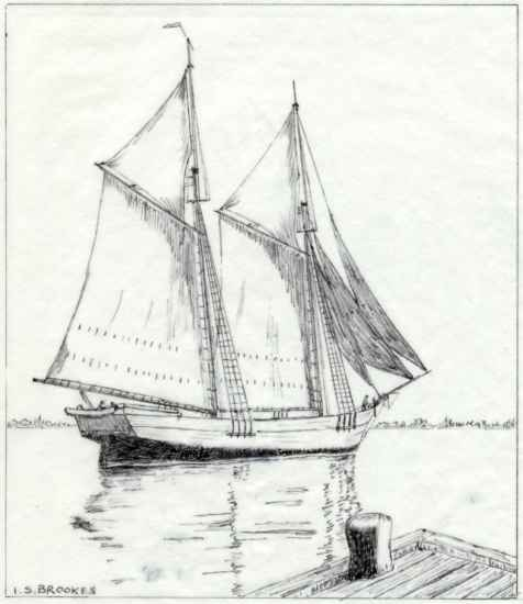Schooner Trader wind - built in Port Colborne, Ontario  in 1853   and burned in a fire in Kingston, Ontario in 1909      Sketch by I.S. Brookes