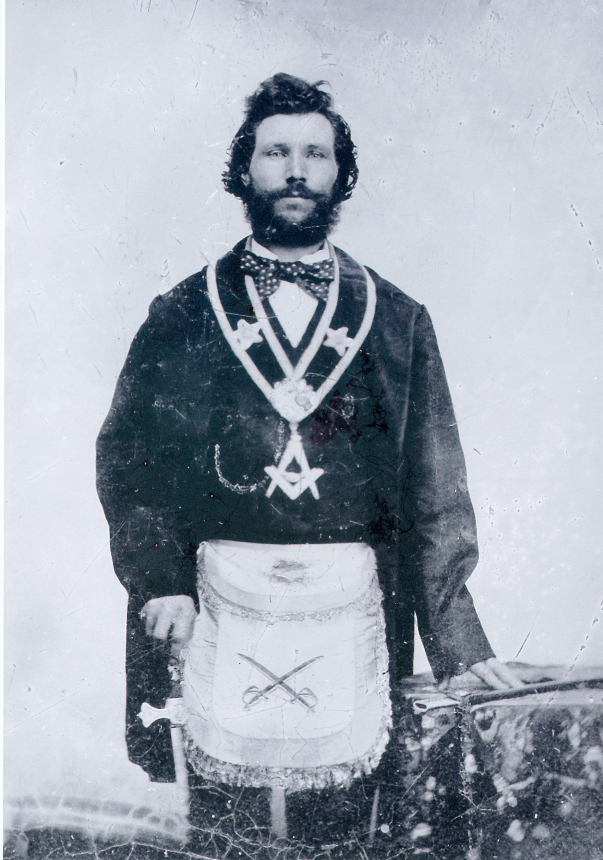 John Laskey Aunger in the regalia of Marmora Lodge No. 222 AF&AM. He served that lodge as Master seven terms and while he was Master, raised five of his sons as Master Masons. In this picture he is serving in the office of Tyler of the Lodge.