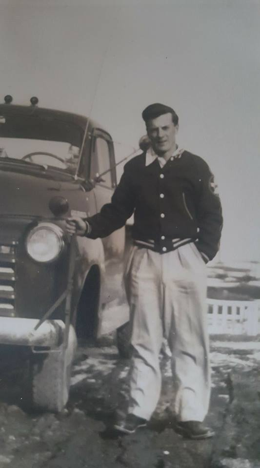 Leo Hulsmans with his brand new 1955 GMC work truck.