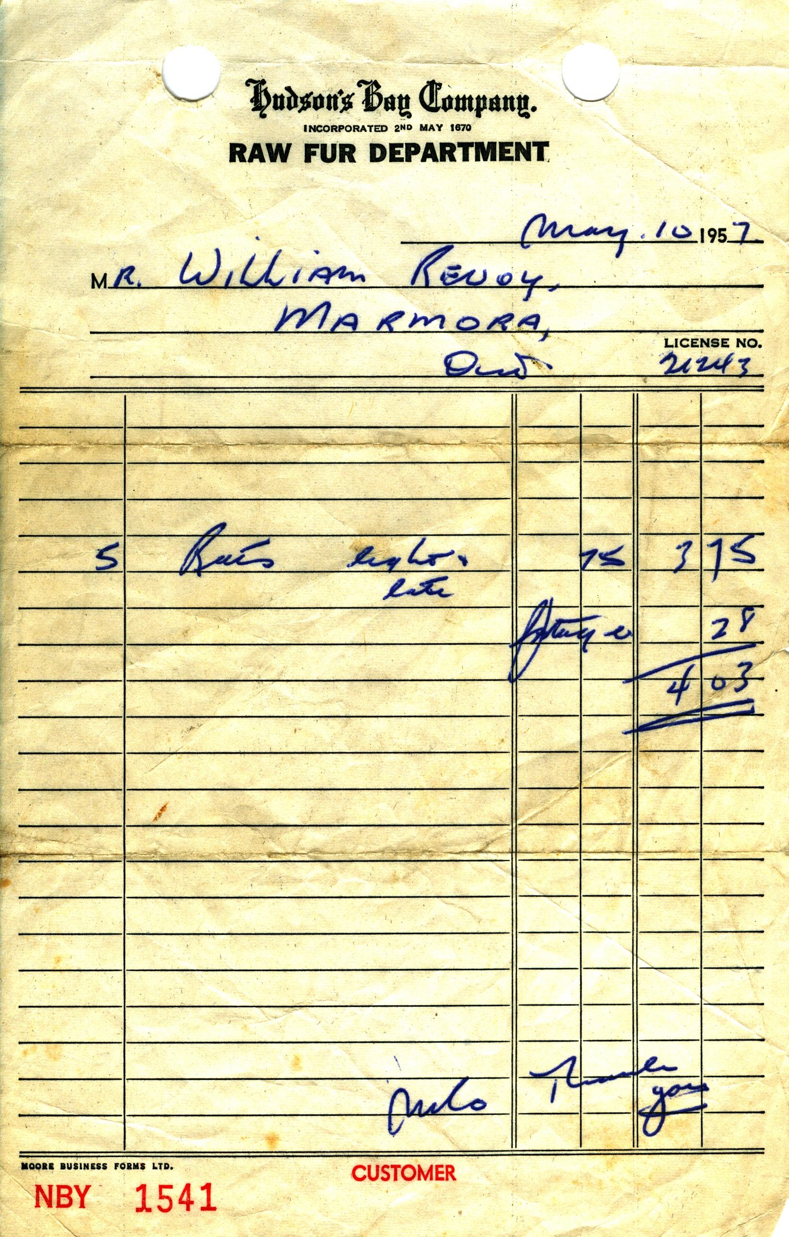 hUDSON'S bAY cO. PAYS $3.75 FOR 5 RAT SKINS