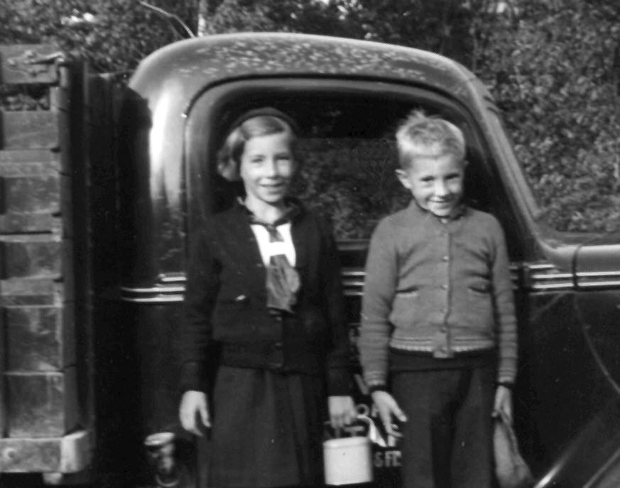Ron Barrons sent this photo. He writes    :Helen Louise Jackson (1928-1943 drowned in Deer River) and Alfred Nagel Jackson (1931-1997) attended school at Rockdale, here standing by one of the trucks of the Deer Lake Fish Hatchery circa 1939 and their arrival at the Hatchery from Normandale on Lake Erie.