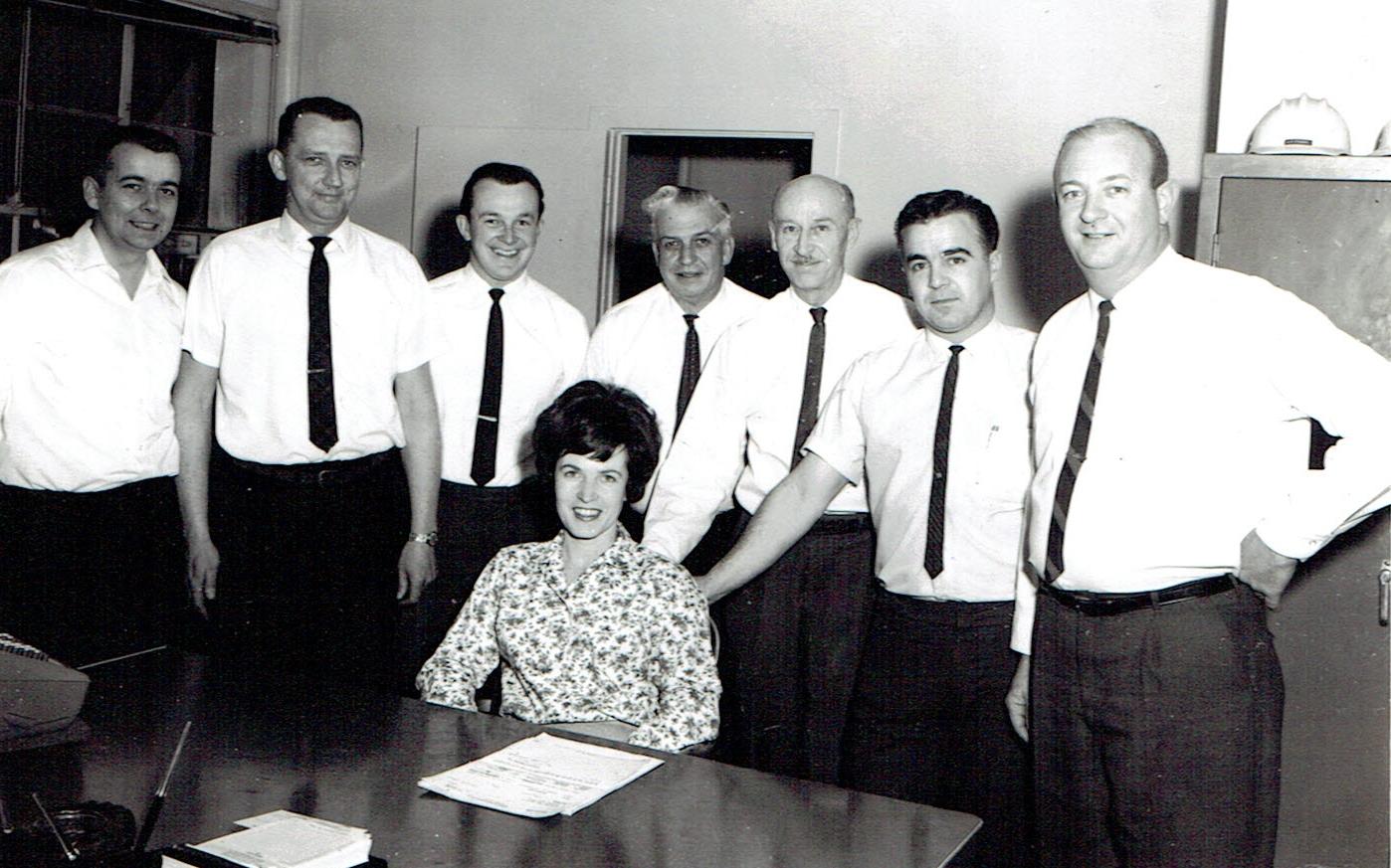 1968 Accounting staff: Ron Henry, Ray Smith, Gary Kelly, Chrlie Bingham, Alex FrASER, tOM bROOKS, tOM hANLEY, UNKNOWN