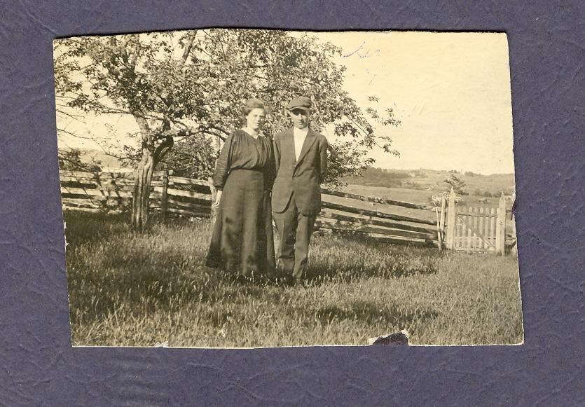 Grandpa John Wilen and Grandmother Veta (nee Neal) on farm in Bonarlaw, Marmora