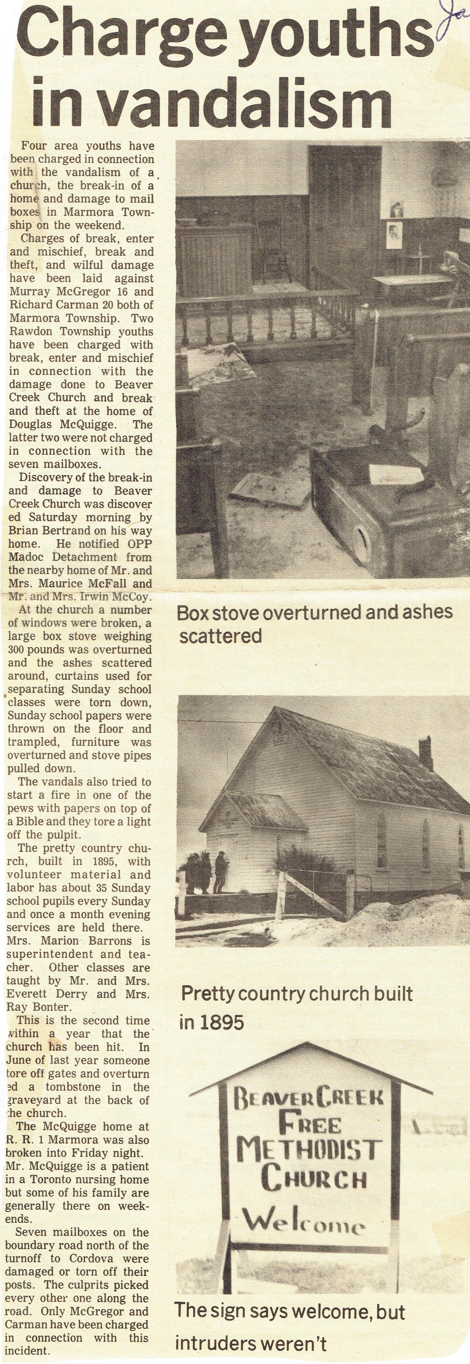 Beaver Creek Church vandalism 1974.jpg