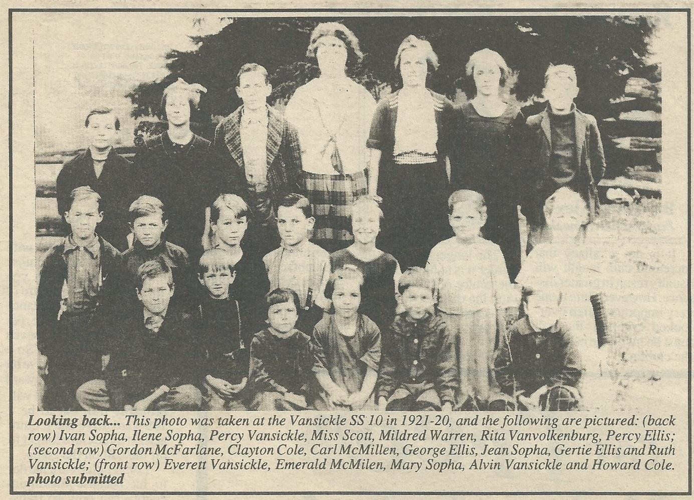 Vansickle School 1920-21