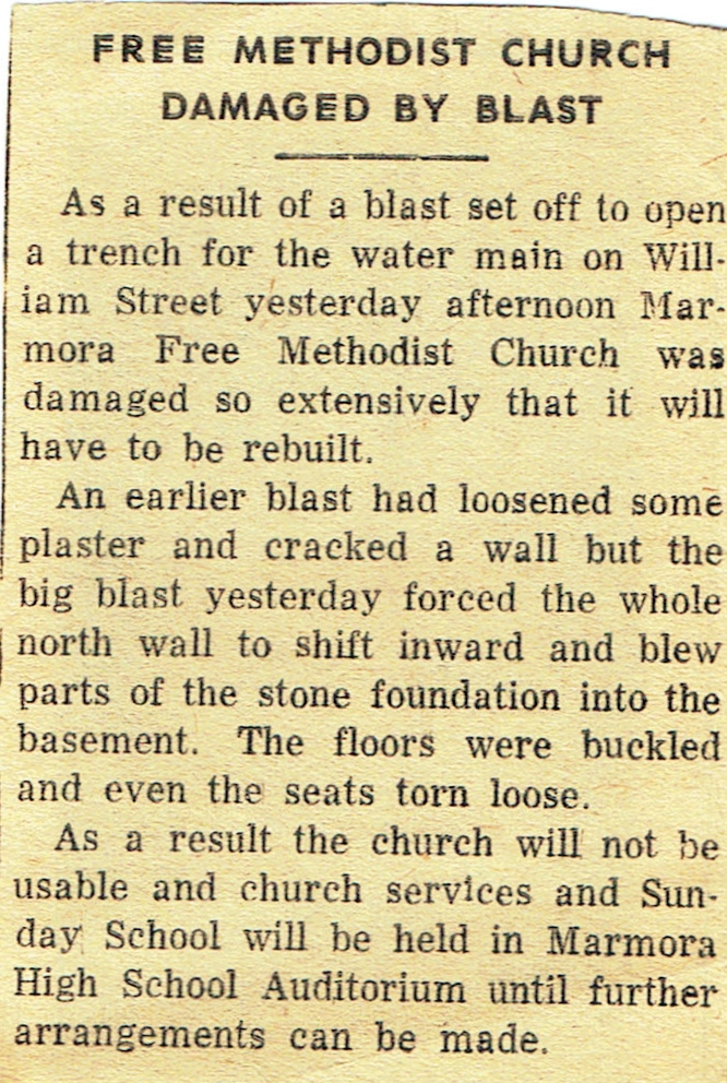 Free Methodist church Marmora damaged by blast.jpg