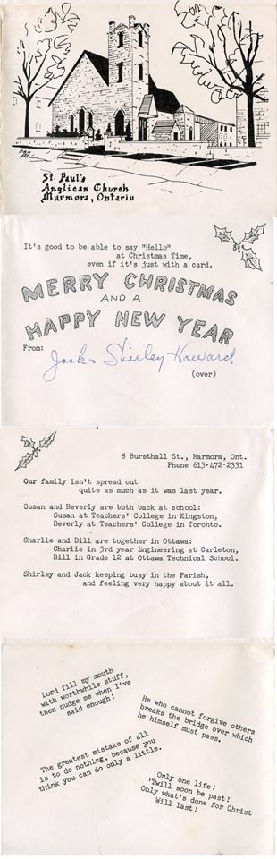 Received from Dan Delong: - St Paul's Anglican Church in Marmora - drawing on a Christmas card from Minister Jack Howard, who had earlier ministered at St George's Anglican in Hastings.