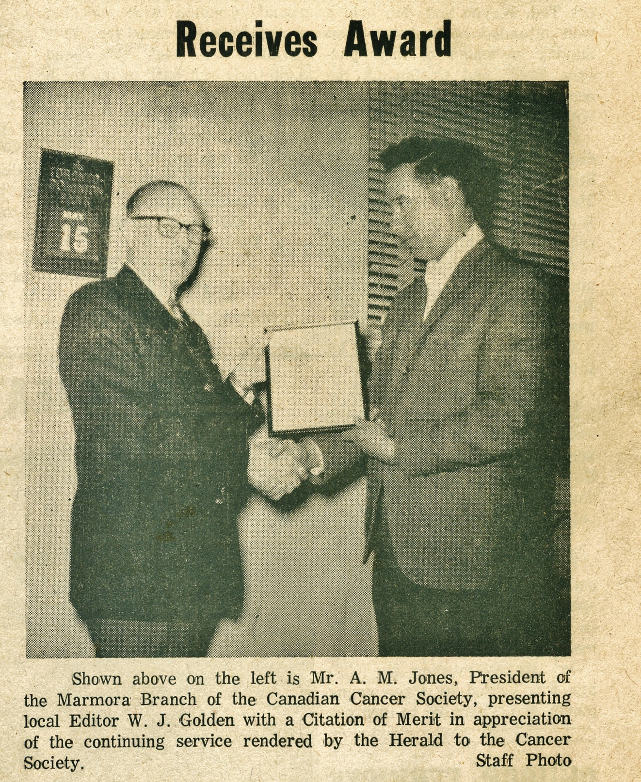 Cancer Society 1967 A.M.(sally) Jones,Jack Golden.