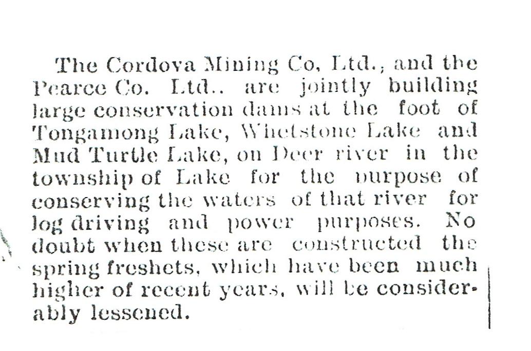 1911 Dam building by Cordova Co & Pearce Co..