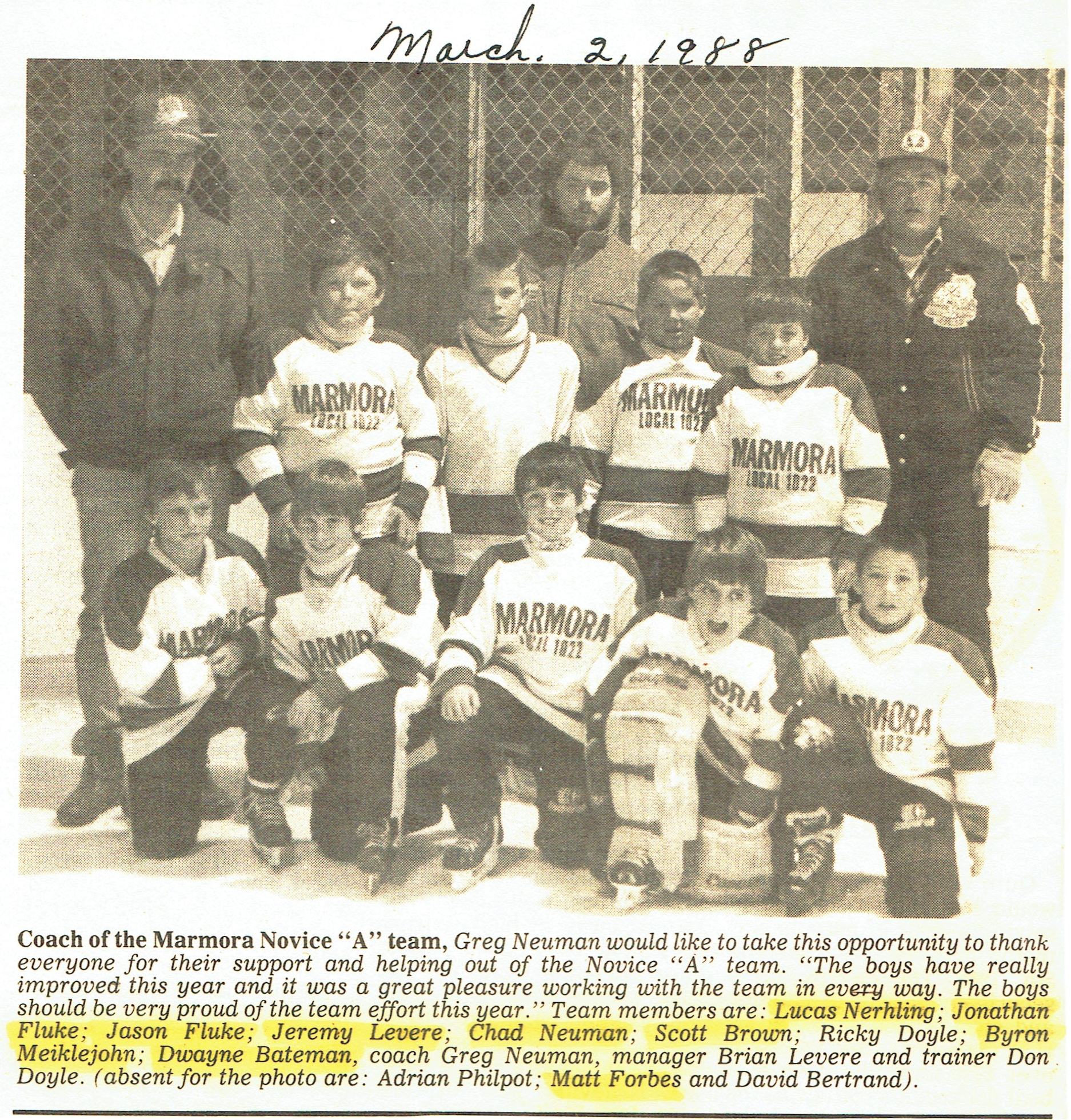 Hockey Novice A 1988