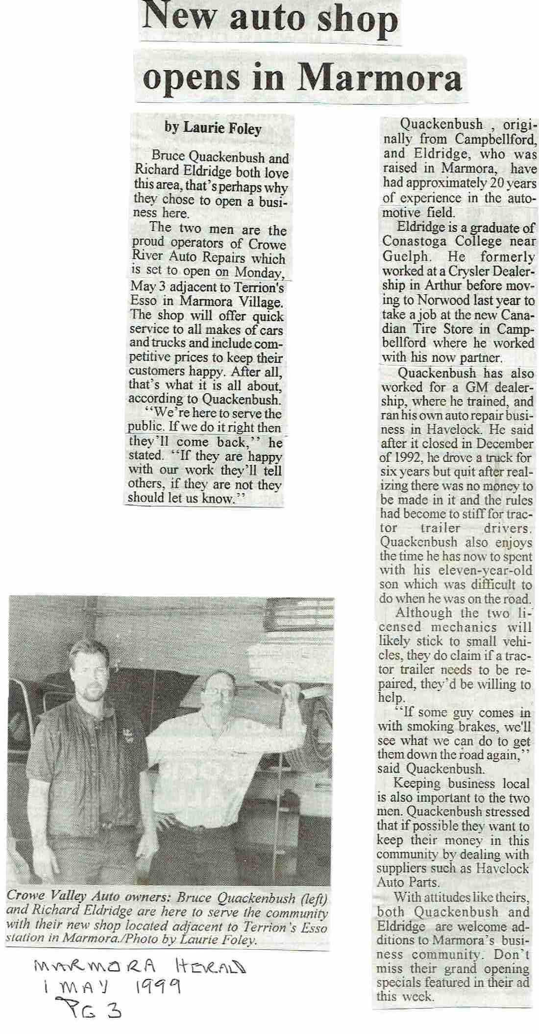 1999 Terrion Crowe River Auto repair.JPG