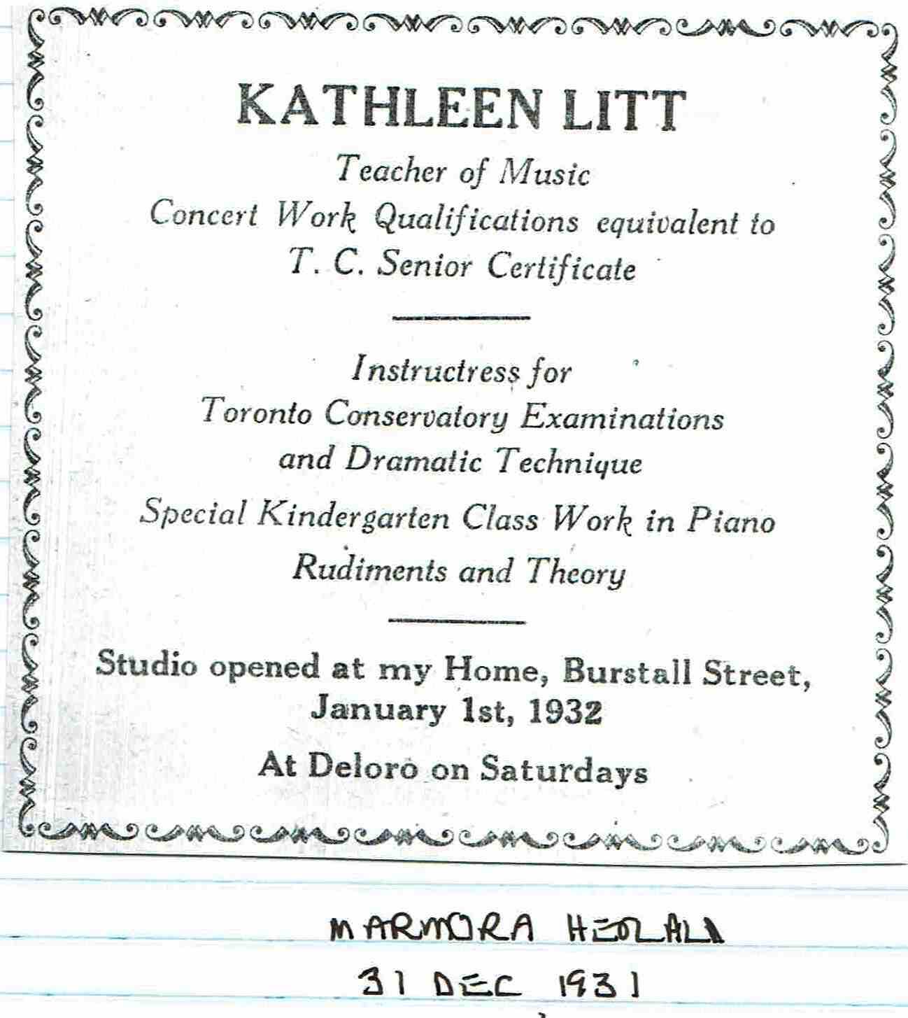1931 Kathleen Litt Music Teacher.JPG