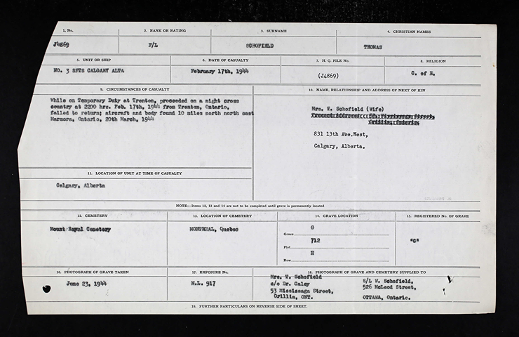 Schofield Avro military record.png
