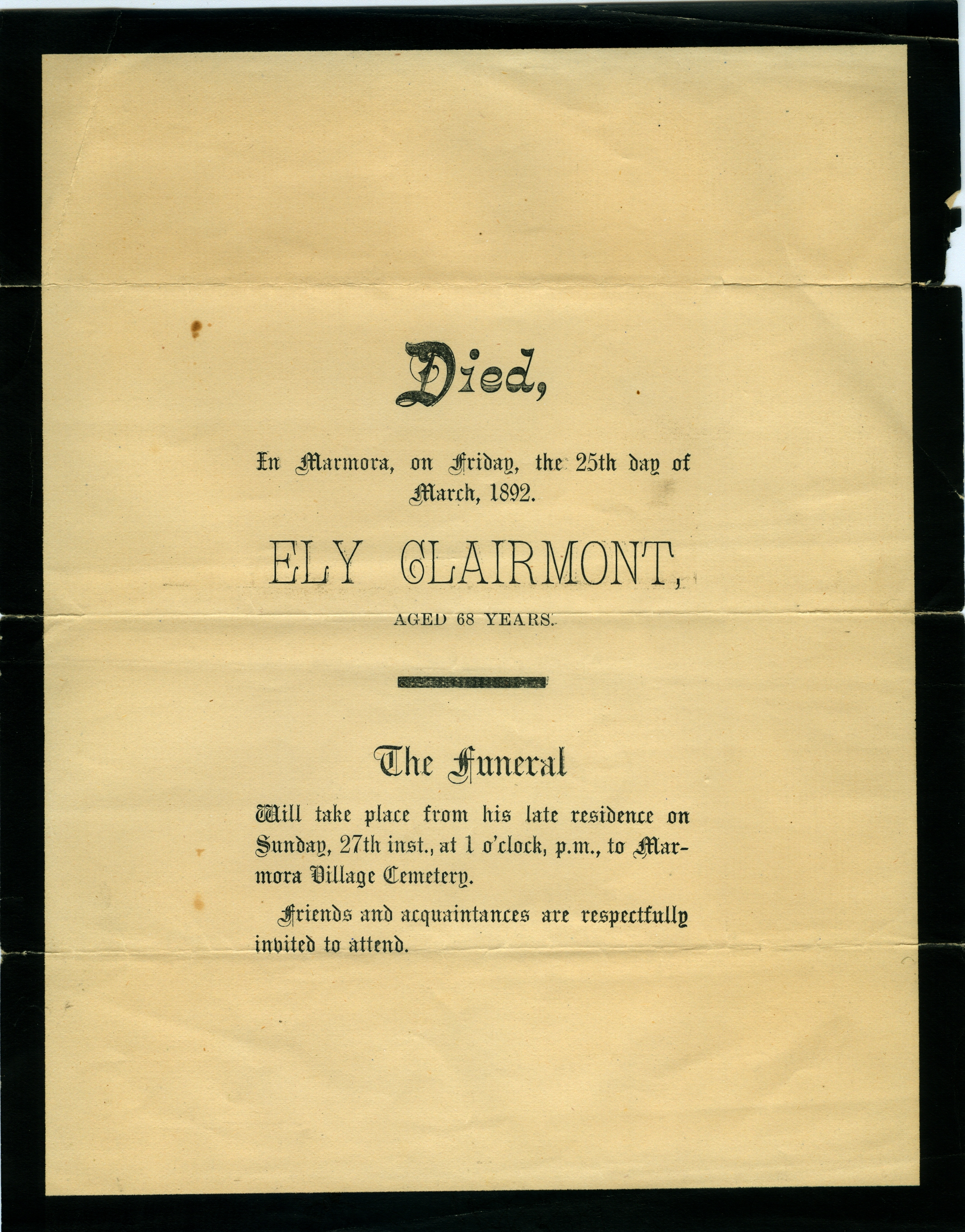 Death notice for Ely Clairmont (Clermont).jpg