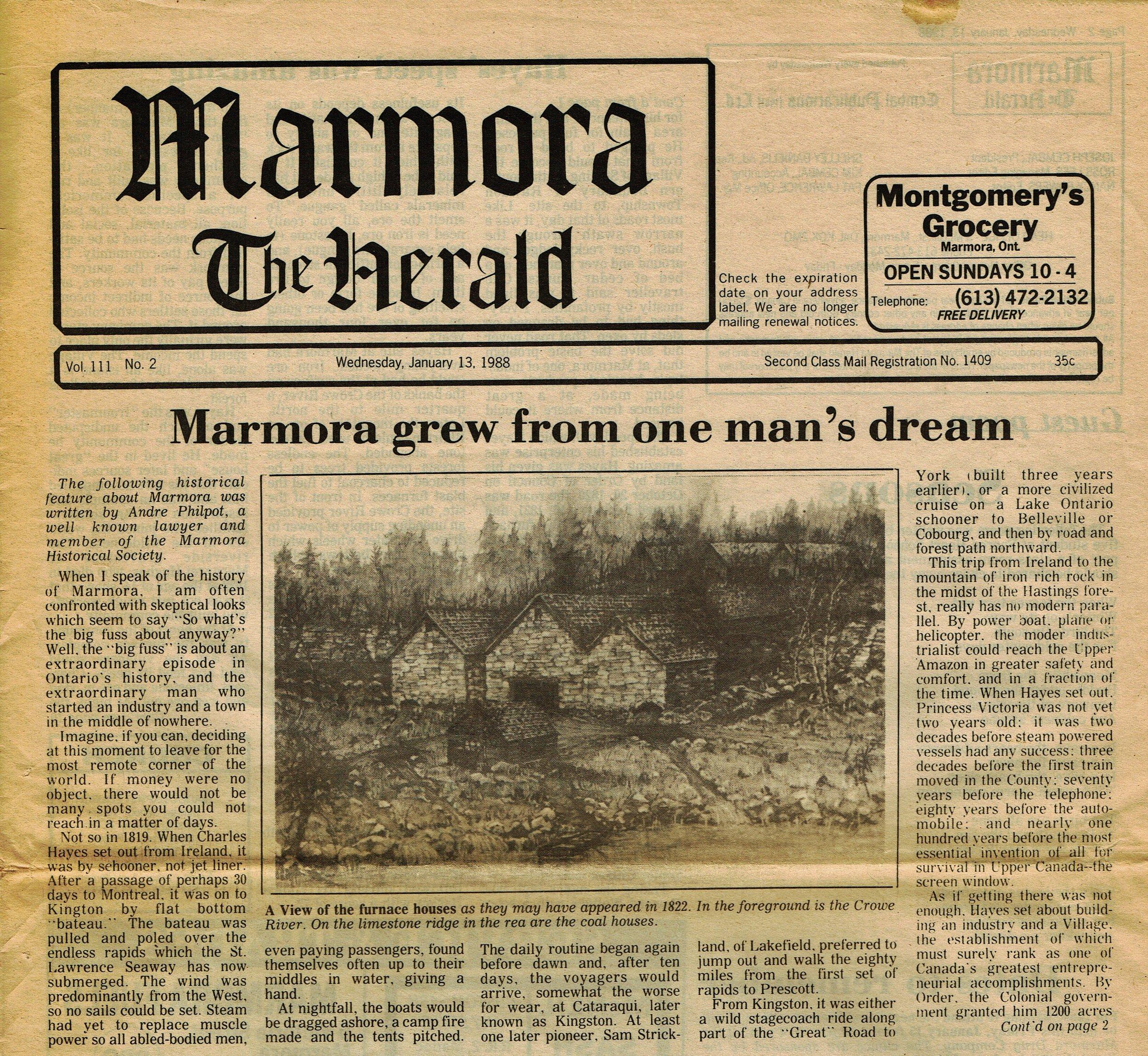 Chrles Hayes, Marmora Herlad (1).jpg