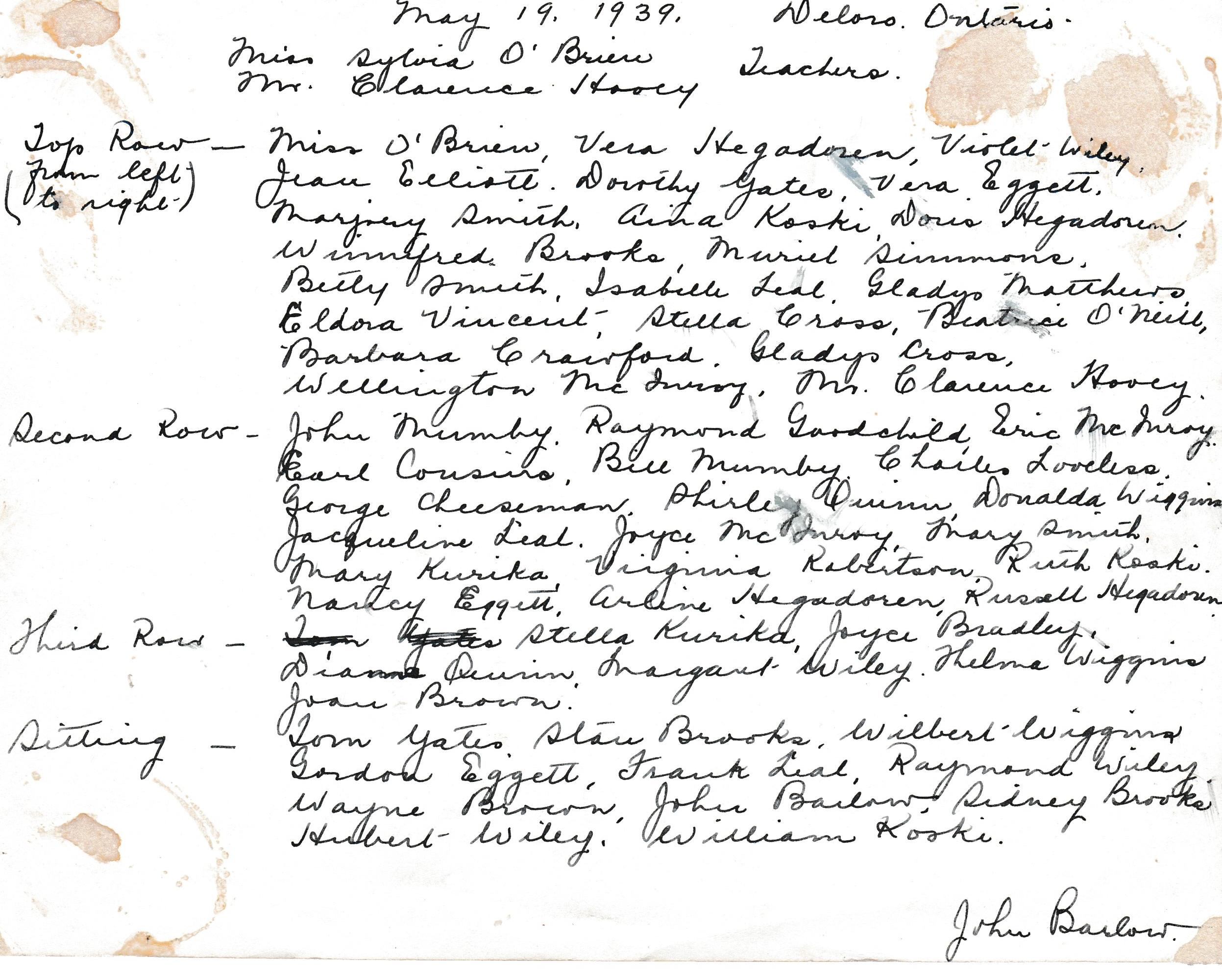 Deloro Public School  1939 names .jpg